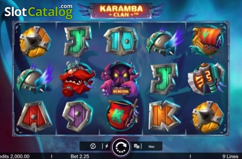 Képernyő2. Karamba Clan (Video Slot tól től Microgaming)