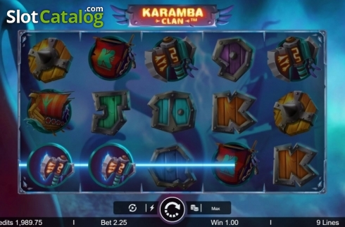 Képernyő3. Karamba Clan (Video Slot tól től Microgaming)