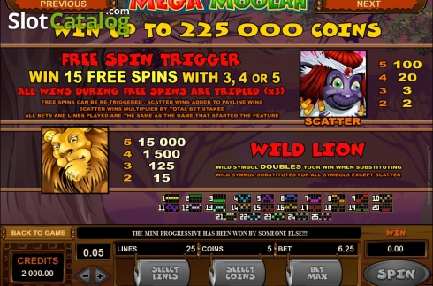 Ecran3. Mega Moolah (Slot video din Microgaming)