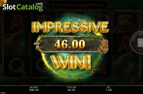 Total Win. Book of the Irish (Video Slot from Inspired Gaming)