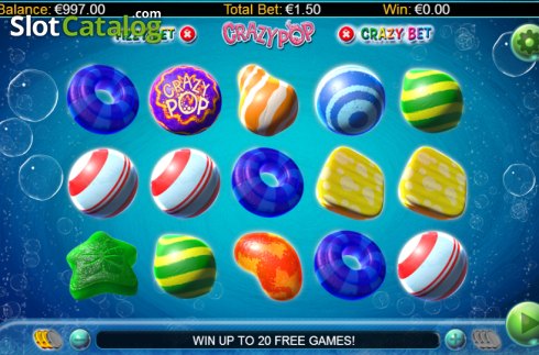Screen 1. Crazy Pop (Video Slots from GamesLab)