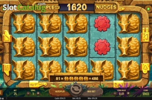 Win Screen. Temple of Nudges (Video Slot from NetEnt)