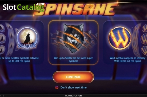 Start Screen. Spinsane (Video Slot from NetEnt)