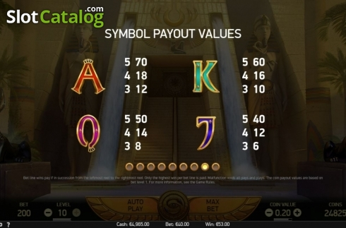 Paytable 2. Mercy of the Gods (Video Slot from NetEnt)