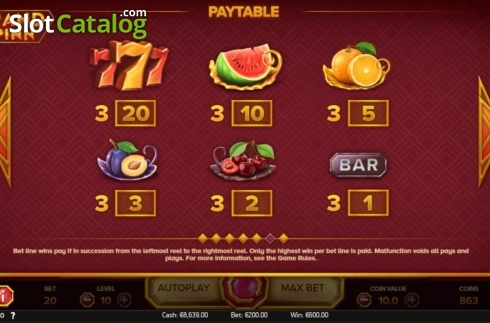 Paytable 1. Grand Spinn (Video Slots from NetEnt)