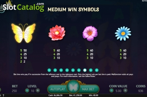 Paytable 1. Butterfly Staxx 2 (Video Slot from NetEnt)