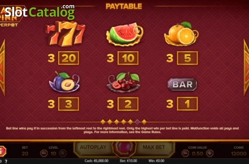 Paytable. Grand Spinn Superpot (Video Slots from NetEnt)