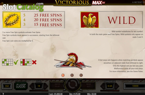 Features. Victorious MAX (Video Slot from NetEnt)