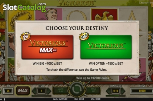 Start Screen. Victorious MAX (Video Slot from NetEnt)
