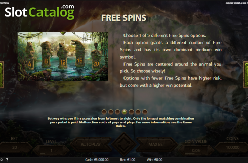 Paytable 4. Jungle Spirit: Call of the Wild (Video Slot from NetEnt)