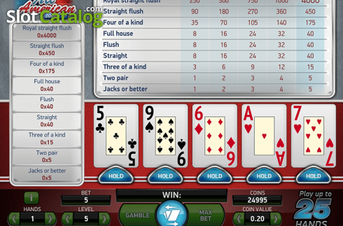 Screen2. All American (Cards game from NetEnt)