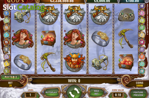 Schermo2. Hall of Gods (Video Slot a partire dal NetEnt)