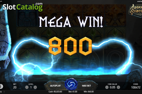 Mega Win Screen . Asgardian Stones (Video Slot from NetEnt)