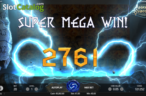 Super Mega Win Screen. Asgardian Stones (Video Slot from NetEnt)
