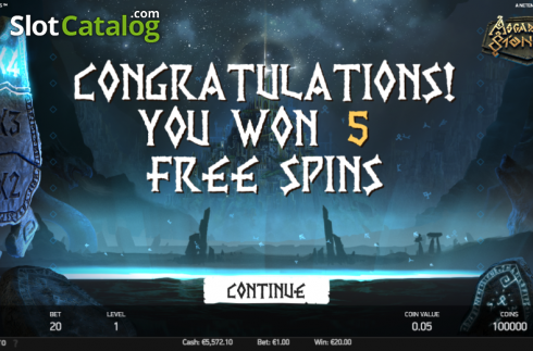 Free Spins Screen. Asgardian Stones (Video Slot from NetEnt)