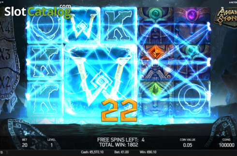 Free Spins Win Screen. Asgardian Stones (Video Slot from NetEnt)