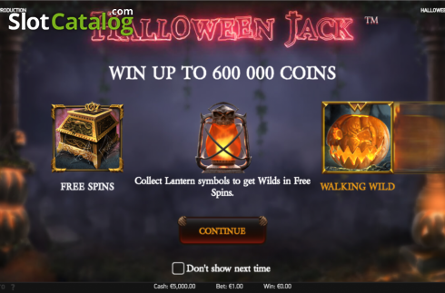 Intro screen. Halloween Jack (Video Slot from NetEnt)