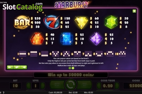 Screen5. Starburst (Video Slot from NetEnt)