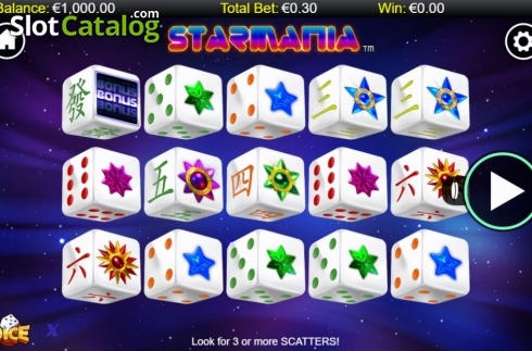 Skärm2. Starmania Dice (Video Slot från NextGen)