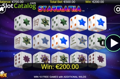 Skärm3. Starmania Dice (Video Slot från NextGen)