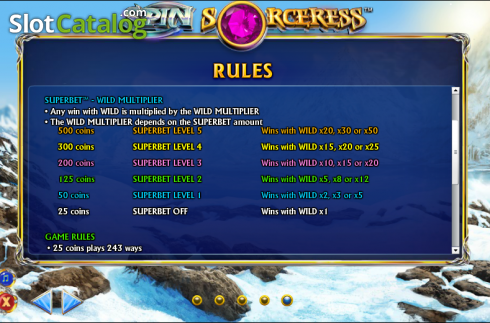 Betalingstabell 6. Spin Sorceress (Video Slot fra NextGen)