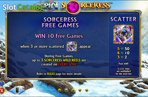 Betalingstabell 2. Spin Sorceress (Video Slot fra NextGen)
