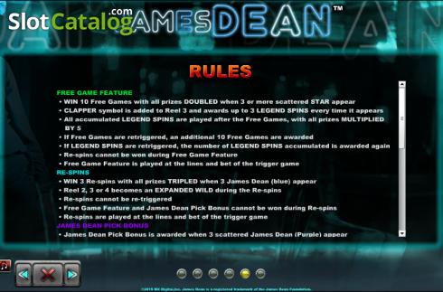 Paytable 5. James Dean (Slot de video a partir de NextGen)