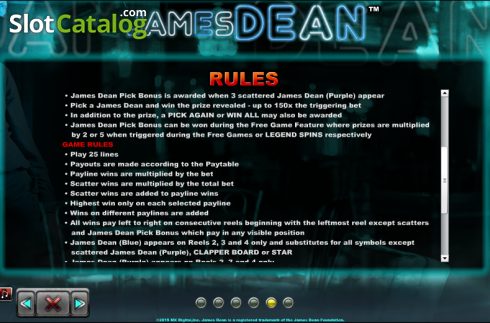 Paytable 6. James Dean (Slot de video a partir de NextGen)