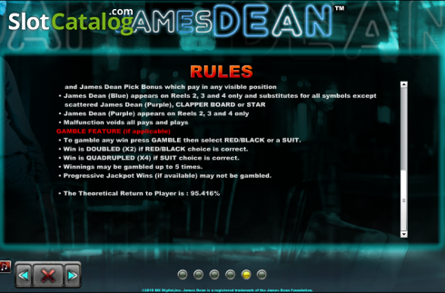Paytable 7. James Dean (Slot de video a partir de NextGen)