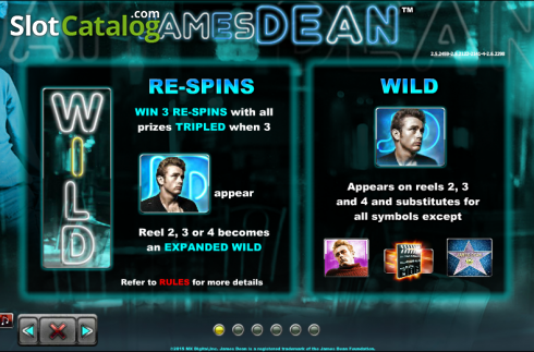Paytable 1. James Dean (Slot de video a partir de NextGen)