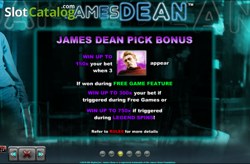 Paytable 3. James Dean (Slot de video a partir de NextGen)