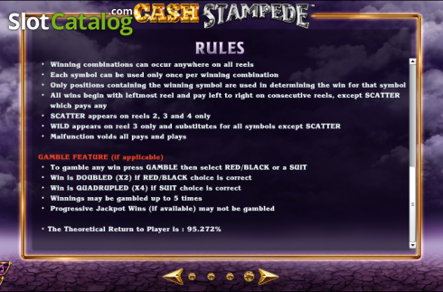 Paytable 6. Cash Stampede (Video Slots from NextGen)