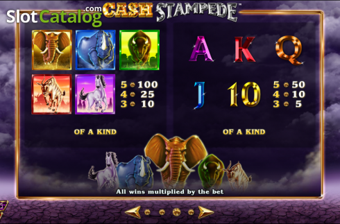 Paytable 3. Cash Stampede (Video Slots from NextGen)
