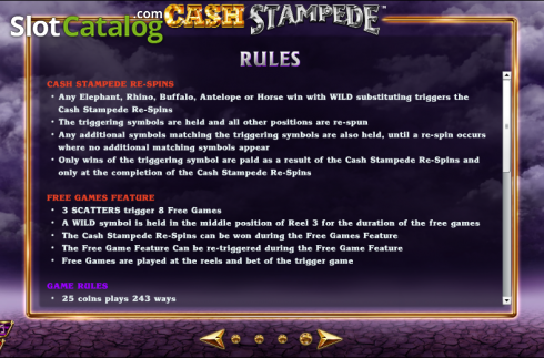Paytable 4. Cash Stampede (Video Slots from NextGen)