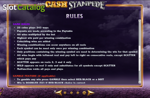 Paytable 5. Cash Stampede (Video Slots from NextGen)