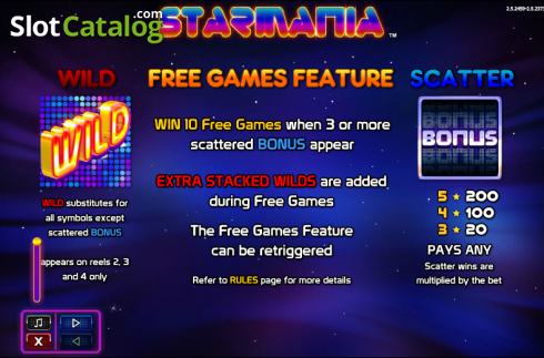 Paytable 1. Starmania (Video Slot from NextGen)