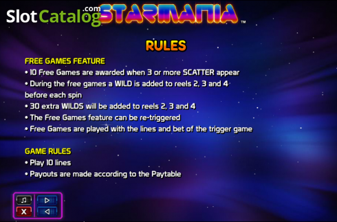 Paytable 3. Starmania (Video Slot from NextGen)