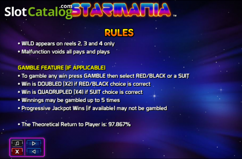 Paytable 5. Starmania (Video Slot from NextGen)