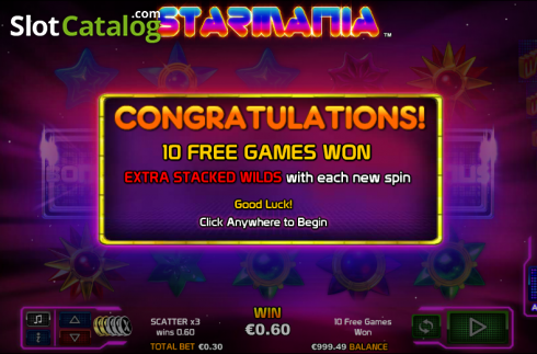 Free spins. Starmania (Video Slot from NextGen)