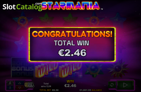 Win presentation. Starmania (Video Slot from NextGen)