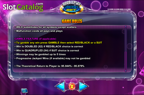 Betalningstabell 8. Double Play SuperBet (Video Slot från NextGen)