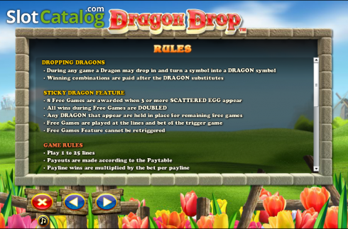 Paytable 3. Dragon Drop (Video Slot a partire dal NextGen)