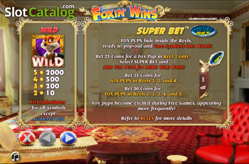 Paytable 1. Foxin Wins (Video Slot from NextGen)