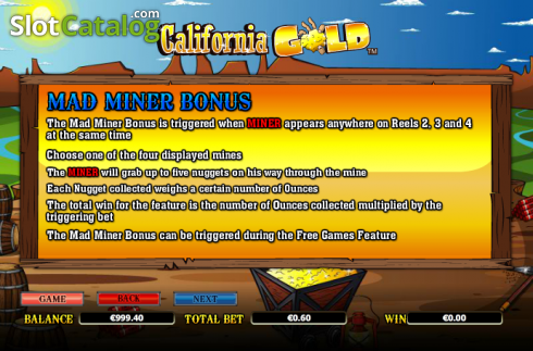 Paytable 5. California Gold (Video Slot from NextGen)