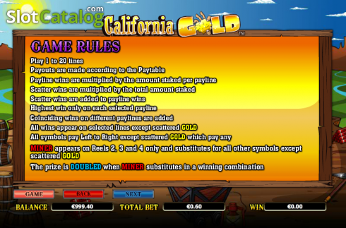 Paytable 6. California Gold (Video Slot from NextGen)