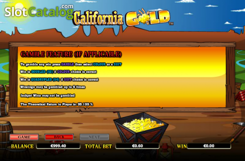 Paytable 8. California Gold (Video Slot from NextGen)