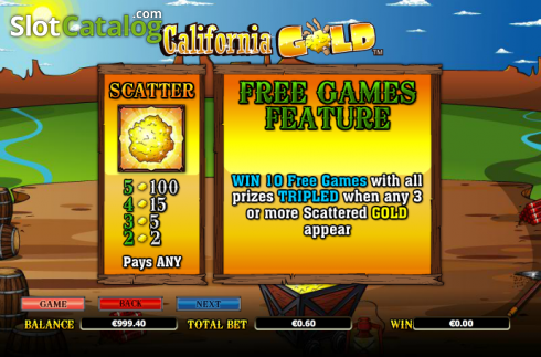 Paytable 2. California Gold (Video Slot from NextGen)