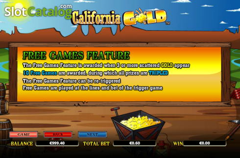 Paytable 4. California Gold (Video Slot from NextGen)