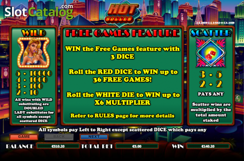 Paytable 1. Hot Roller (Video Slot từ NextGen)