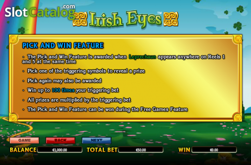 Paytable 5. Irish Eyes (Video Slot a partire dal NextGen)
